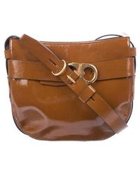 9c68e8b87d9c Lyst - Ferragamo Leather Chain-link Shoulder Bag Gold in Metallic