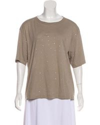 Dries Van Noten - Embellished Knit T-shirt Beige - Lyst