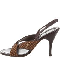 54b6a6ba952c Louis Vuitton - Damier Ponyhair Slide Sandals Brown - Lyst