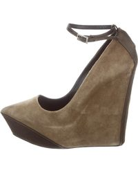 Theyskens' Theory - Suede Platform Wedges Olive - Lyst