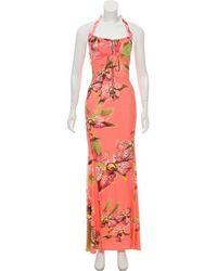 Roberto Cavalli - Printed Maxi Dress Coral - Lyst