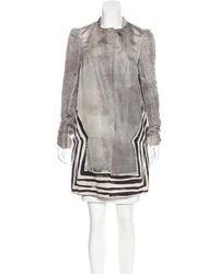 Miu Miu - Miu Silk Printed Coat W/ Tags Grey - Lyst