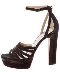 Tamara Mellon - Snakeskin-trimmed Platform Sandals - Lyst