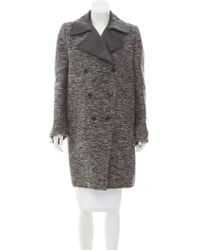 Givenchy - Leather-trimmed Wool Coat Grey - Lyst