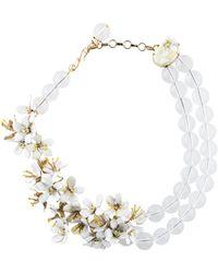 Carolina Herrera - Beaded Floral Necklace Gold - Lyst
