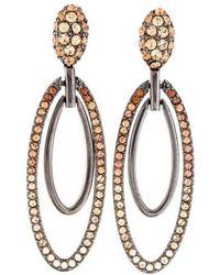 Judith Leiber - Crystal Ellipse Drop Earrings Gold - Lyst