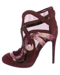 Roberto Cavalli - Suede Ankle Boots Burgundy - Lyst