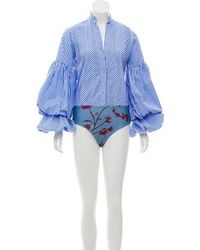 Johanna Ortiz - Button-up Stripe Bodysuit Blue - Lyst