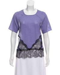 Wes Gordon - Lace-trimmed Short Sleeve Top - Lyst