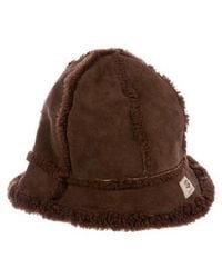 UGG - Suede Shearling-trimmed Hat - Lyst