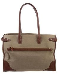 Ghurka - Leather-trimmed Canvas Tote Khaki - Lyst