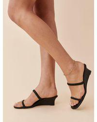 Reformation Amaya Ruched Wedge Sandal - Black