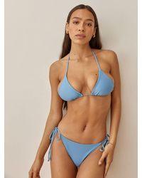 Reformation Fraise Triangle Bikini Top - Blue