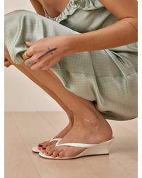 Reformation Amelia Thong Wedge Sandal - White