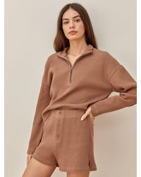 Reformation Yale Waffle Zip - Brown