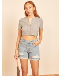 Reformation Germaine Cropped Cardigan - Gray