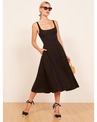 Reformation Rou Midi Fit & Flare Dress - Black