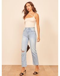 Reformation Cynthia High Rise Straight Cropped Jeans - Multicolor