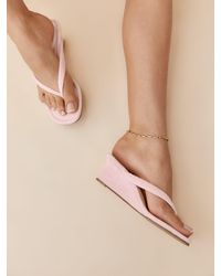 Reformation Amelia Terry Thong Wedge Sandal - Multicolor