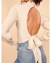 Reformation Osteria Open Back Sweater - Blue