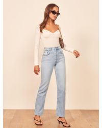 Reformation Cynthia High Rise Straight Jeans - Blue