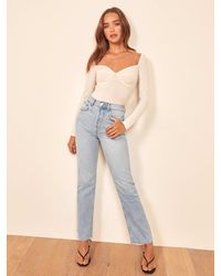 Reformation Petites Cynthia High Relaxed Jean - Blue