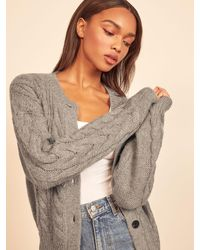 Reformation Lemartine Cable Knit Cardigan - Gray