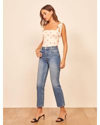 Reformation Cynthia High Rise Straight Cropped Jeans - Blue