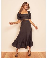 Reformation Yucca Linen Two Piece - Black