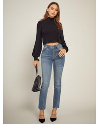 Reformation Liza Button Fly High Rise Straight Jeans - Blue