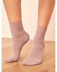 Reformation Swedish Stockings Stella Shimmery Sock - Pink