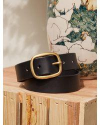 Reformation Maximum Henry Wide Oval Brass Buckle Belt - Black