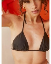 Reformation Fraise Triangle Bikini Top - Black
