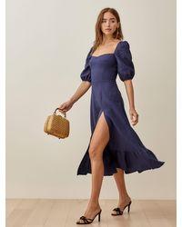 Reformation Belgium Linen Dress - Blue