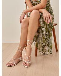Reformation Alize Lace Up Flat Sandal - White