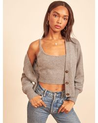 Reformation Varenne Cashmere Tank And Cardi Set - Gray
