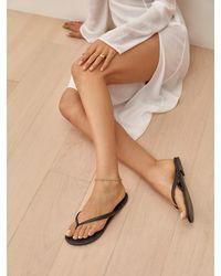 Reformation Blossom Thong Flat Sandal - Black