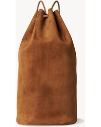 The Row Massimo Backpack In Suede - Brown