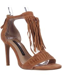 French Connection - Lilyana Fringe Ankle Strap Sandals, Safari Sands - Lyst