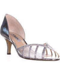 Nina Corita Peep Toe Kitten Heels - Metallic