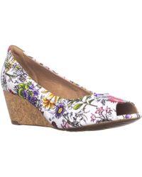 Clarks - Burmese Art Peep-toe Wedge Court Shoes - Lyst