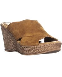 Bella Vita Bella Vida Ediitaly Criss Cross Wedge Heel Sandals - Brown