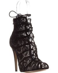Chinese Laundry - Jingle Caged Lace Up Booties, Black - Lyst