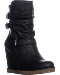 Report - Francine Mid Calf Wedge Buckle Boots - Lyst