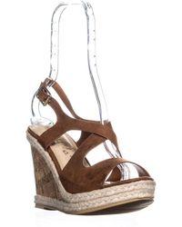 Callisto Brielle Wedge Slingback Peep Toe Sandals - Brown