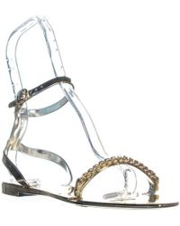 c5cb96053fd Dkny Sarasota Suede Sandals in Metallic - Lyst
