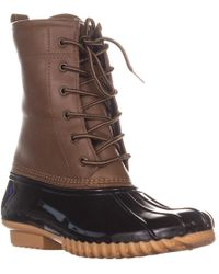 Sporto The Original Duck Boot By Ariel Lace Up Duck Rain Boots - Brown