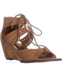 Madden Girl Rally Lace Up Wedge Sandals - Brown