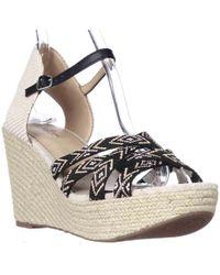 Lucky Brand - Mahima Espadrille Wedge Ankle Strap Sandals, Black Multi/friendship Bracelet - Lyst