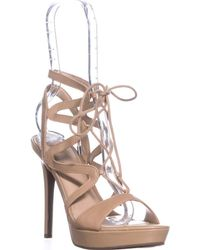 Guess Aurela Lace Up Strappy Sandals - Natural